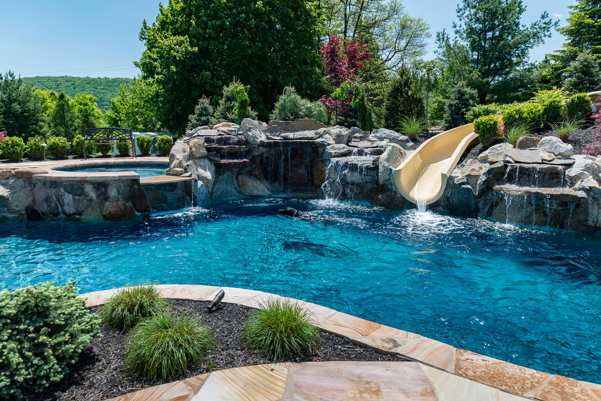 Bloomsbury nj custom inground swimming pool design for Pictures of inground pools