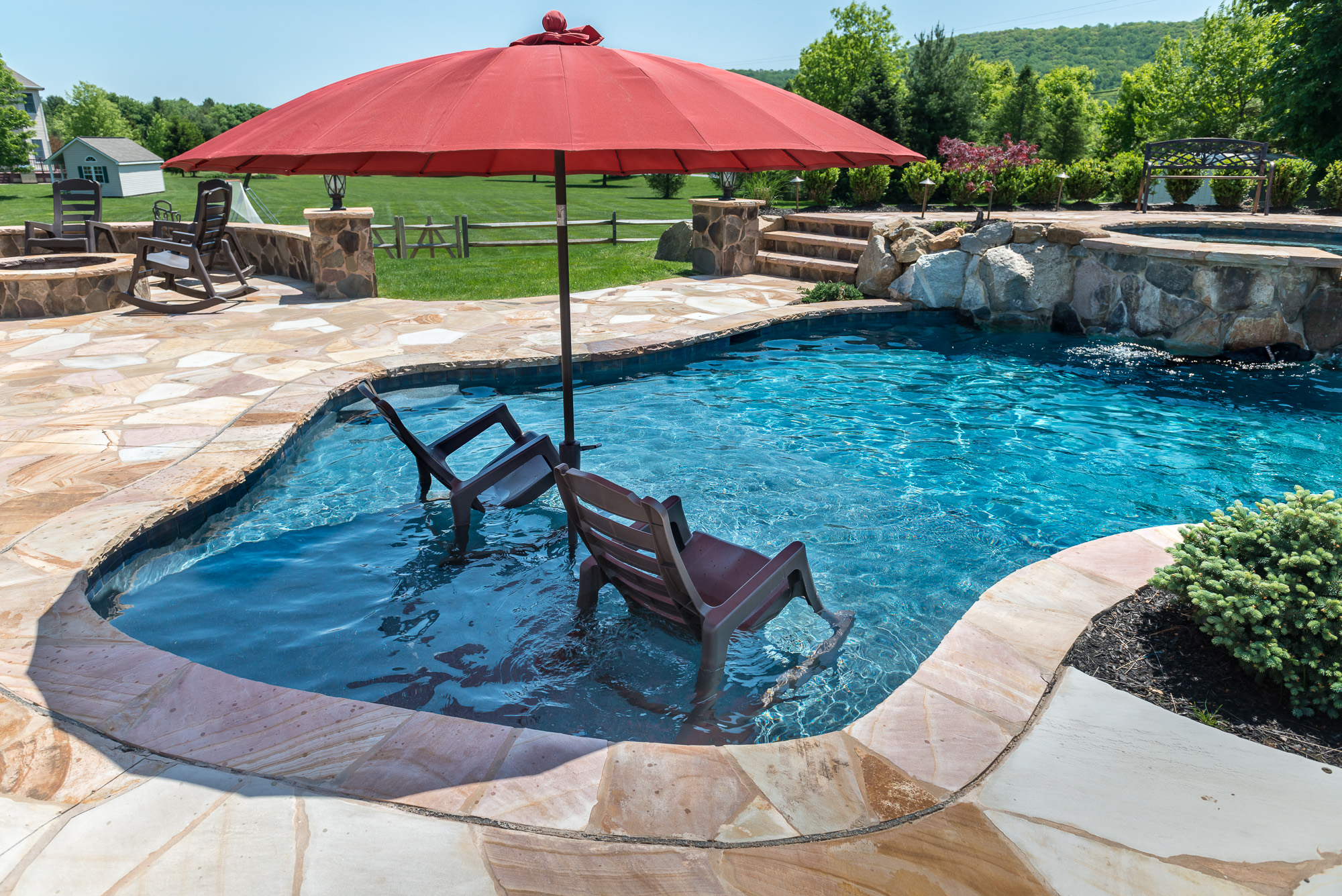 Bloomsbury nj custom inground swimming pool design for Images of inground swimming pools