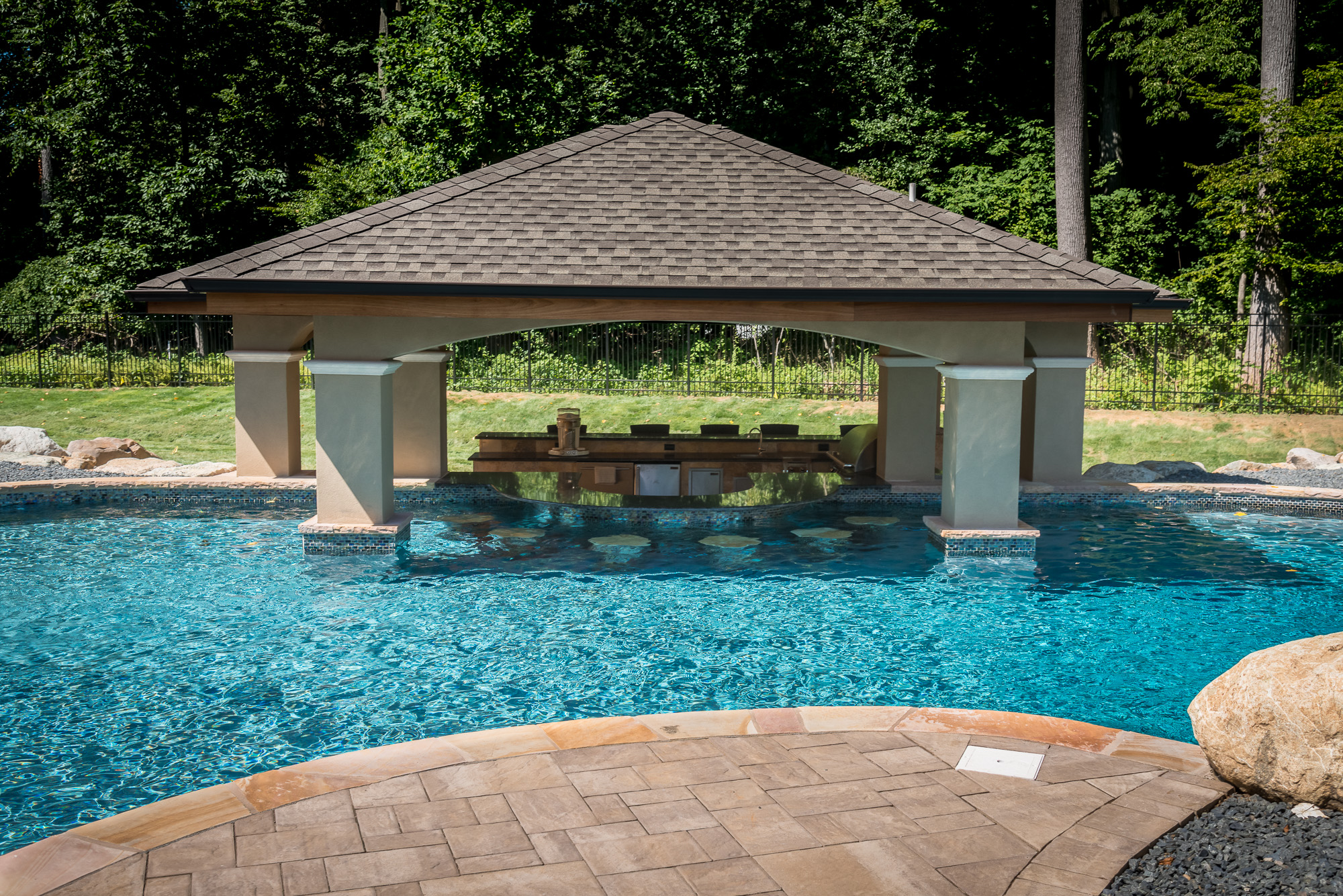 Holmdel nj custom inground swimming pool design for Custom inground swimming pools