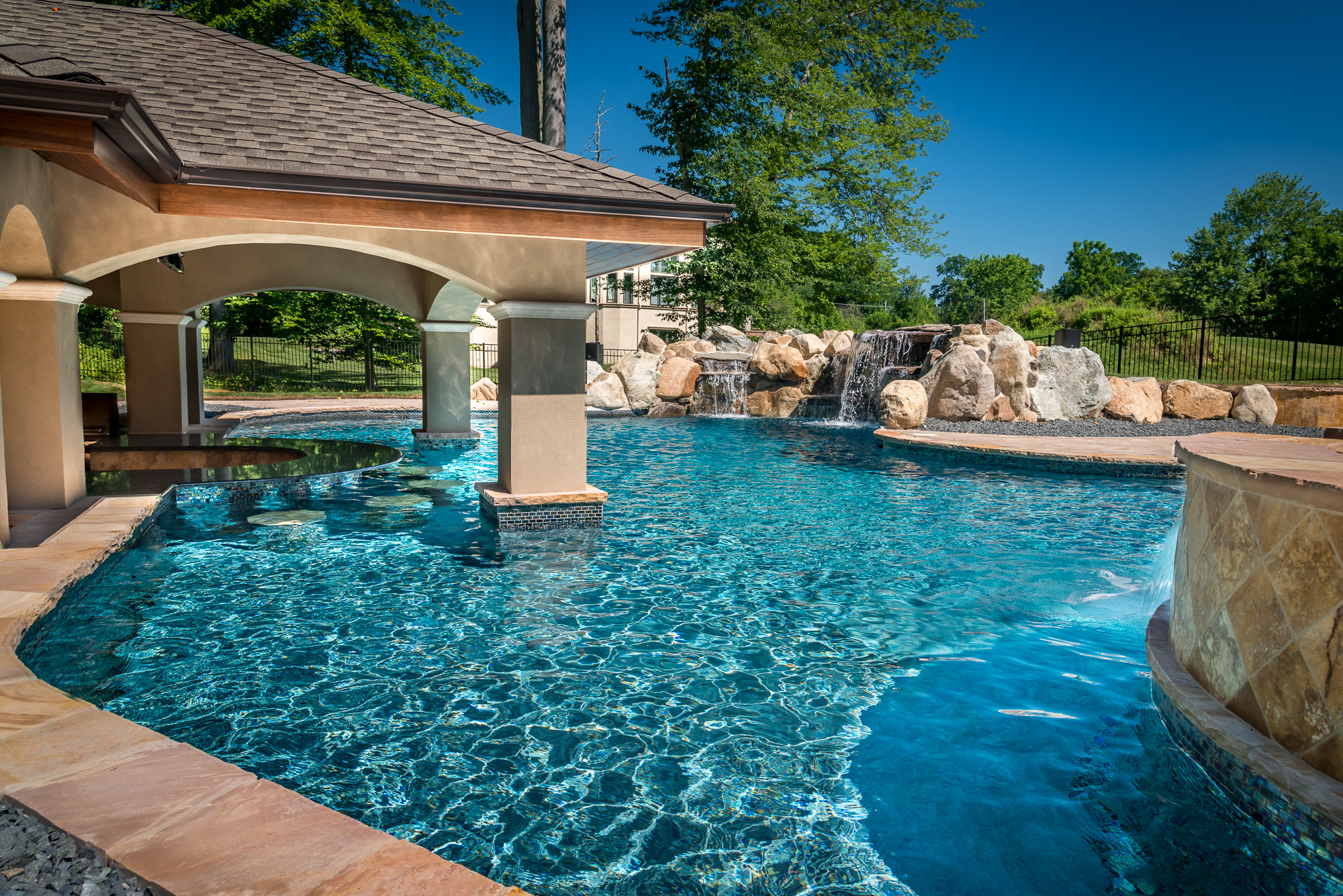 Holmdel nj custom inground swimming pool design for Custom swimming pool designs