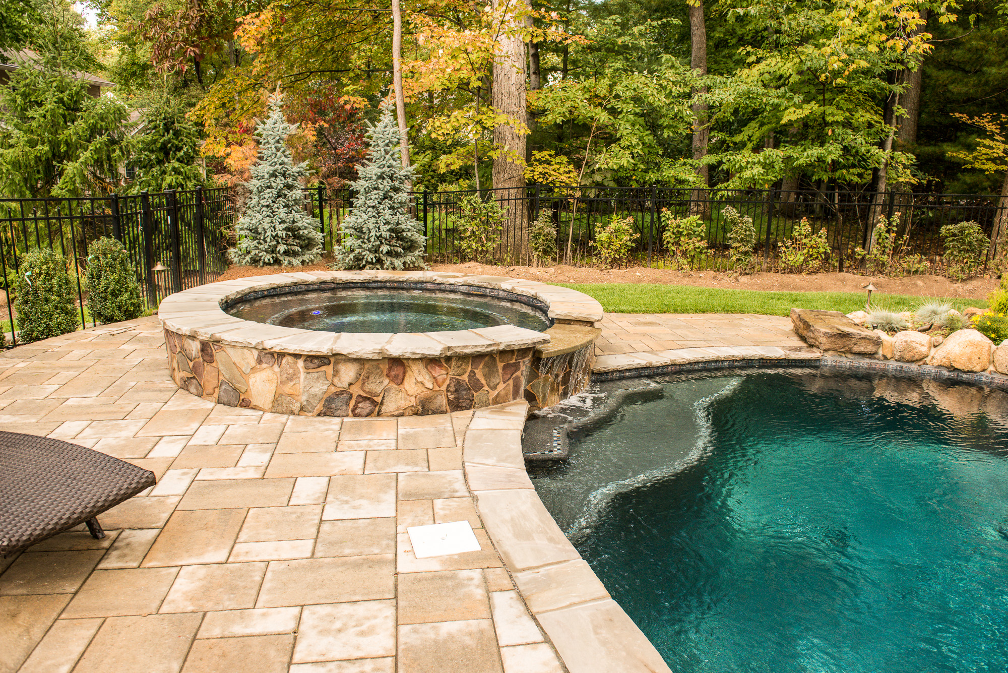 Rivervale nj custom inground swimming pool design for Custom inground swimming pools