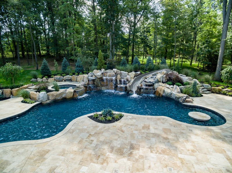 Warren nj custom inground swimming pool design for Custom inground swimming pools