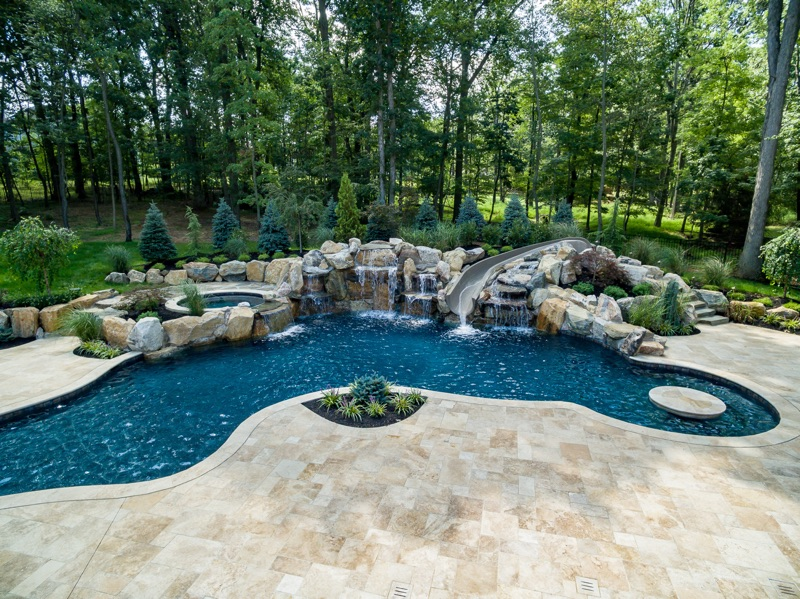 Inground pool construction process for custom swimming for Pool design new jersey