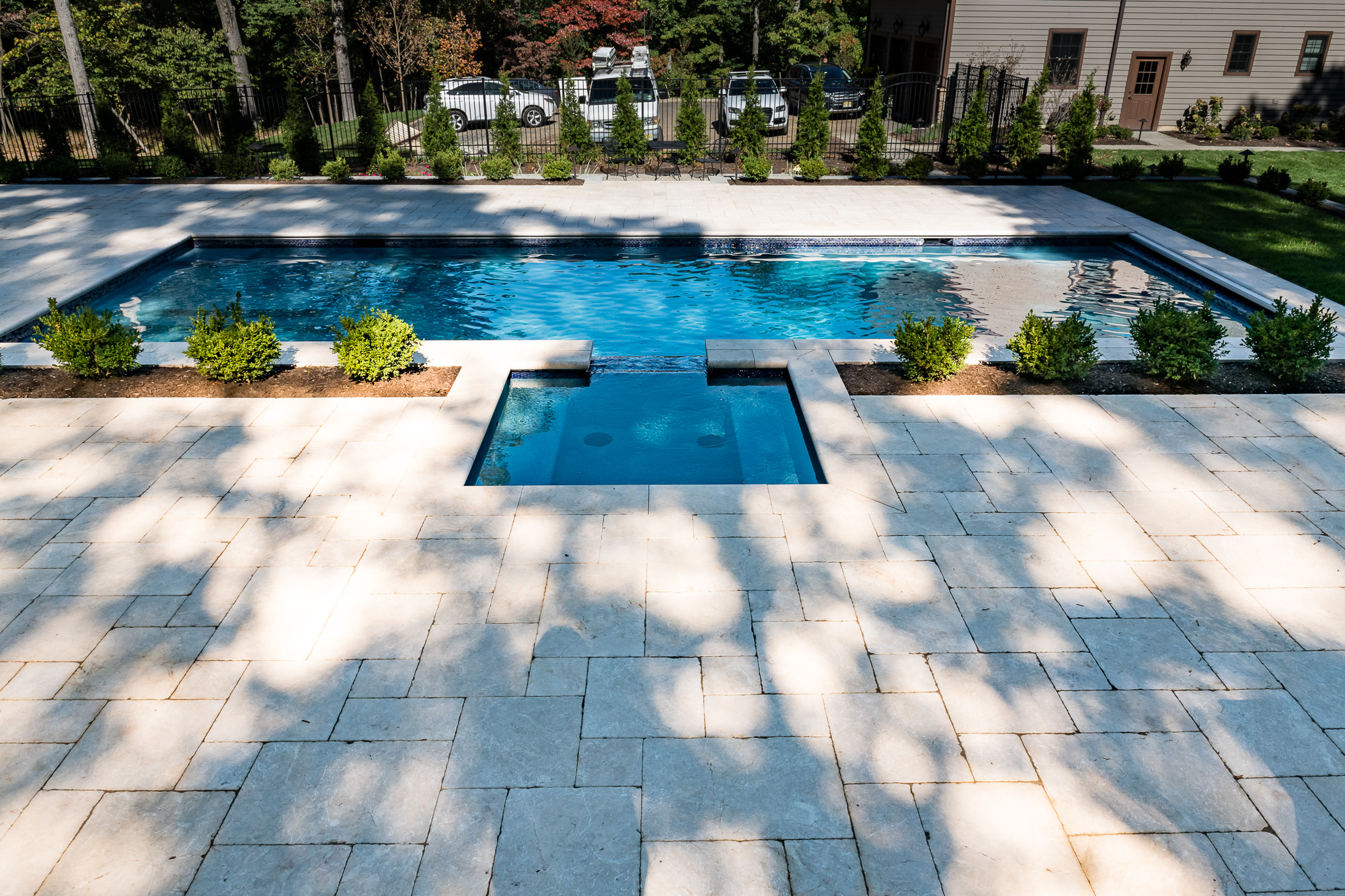 Inground pool and spa in watchung by pools by design nj for Images of inground swimming pools